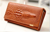 New European style famous classic retro design personalized crocodile embossed women Genuine leather long Purse /girl Wallet