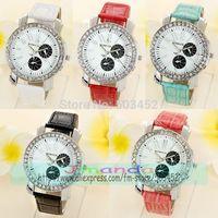 100pcs/lot WOMAGE-9346 Hot Sale Crystal Leather Watch Wholesale Price Casual Dress Watch Wrap Quartz Roman Style Wristwatch