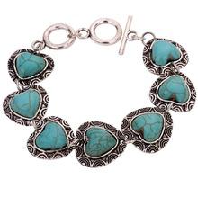 New Jewel Tibetan Silver Bracelet Heart Shape Turquoise Inaly Adjustable Bangle(China (Mainland))