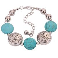 Hot Jewelry Tibetan Silver Bracelet Turquoise Inlay Roundness Bead Adjust Bangle