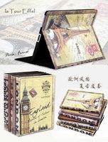 Cute Retro Big Ben Eiffel Tower British style Stand Magnetic  case smart cover for iPad Mini 3pcs/set for 1 case + 1 pen + 1 SP