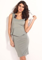 Free shipping + Lowest price New Sexy Elegant Modern Women Peplum Dress with Satin Inserts Neck LC6215