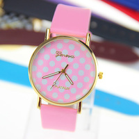 10 colors New Fashion Leather GENEVA Watch For Ladies Women Dress Watch Quartz Watches 1pcs/lot
