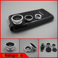 Portable Fish Eye Lens Wide Angle Macro Lens For iPhone 4S 5 5S 5C HTC Samsung Galaxy S3 S4 Note 2 i9500--Universal 3in1 Clip-On