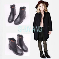 New Arrival Fashion 2014 British Style Free Shipping Children Winter Genuine Leather  Boots Girls Motorcycle Boots Ankle Shoes