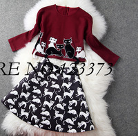 SS14 Milan Fashion autumn and winter women cat embroidered stereo long-sleeve top print bust skirt twinset