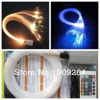 LED fiber optic star ceiling kit (300PCS*0.75MM  2m long fiber+5W light engine+ remote contoller+16 color)