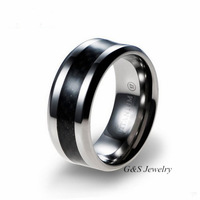 New 2014 BLACK Carbon Fiber Inlay 9MM Men's Pure Titanium Ring Free Shipping G&S006TR