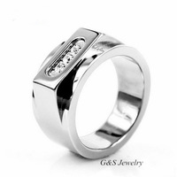 New Style Exaggerated Pure Titanium Rings Jewellery with Free Jewelry Box, Cubic Zirconia Stone Inlay Ring For Men,