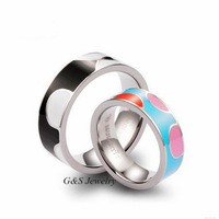2014 New Couple Rings Wedding Ring Engagement Ring 7 & 6 Mm Pure Titanium Couple Rings 2PCS/LOT Free Shipping G&S004TRS