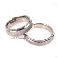 7mm For Men, 5mm For Women, Beveled Edge Comfort Fit Pure Titanium Wedding Band 2PCS/LOT Free Shipping G&S003TRS