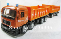 43cm 1:40 big trucks lorry trailer two carriages alloy auto model cars Diecast children's educational toys two colors