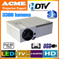 HOT!! Full HD LED LCD Home Theater Projector 3300 lumens High Brightness For Daytime Use,With Perfect Display Effect!