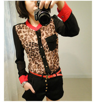 2014 time-limited button full fashion o-neck cotton flare sleeve hot women's color block up collar leopard chiffon sleeve shirt