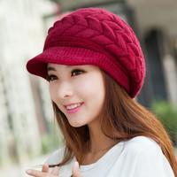 New 2014 Korean Women Winter Hats Girls' Warm Wool Twist Knitted Hat Fashion Beanies For Woman Flowers Cap Accessories Hot Sale