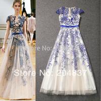 new arrival 2014 spring and summer elegant chiffon gauze ultra long evening dress  dinner dress party dress