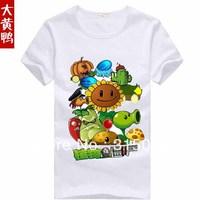 New arrival summer t shirt tshirt short-sleeve Plants vs. Zombies cartoon figure hot 100% cotton T-shirt for children boy girl