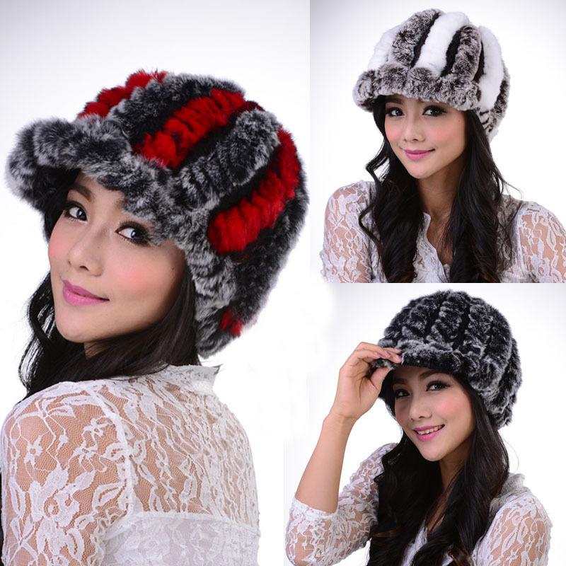 2014 New Genuine Rex Rabbit Knitted Fur Hat Chapeau Stripe Toe Wool Lining Women Fur Beanie Natural Fur Cap Headgear Girl Hats(China (Mainland))