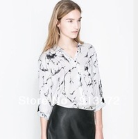 ST1065 New Fashion Ladies' Vintage ink print blouses Turn-down collar long sleeve casual slim office lady brand designer tops
