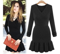 New 2014 V-Neck Knee-length Ruffles Winter Dress Party Evening Long Sleeve Casual Black Dress For Women Free Shipping