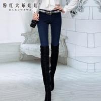 New 2014 dabuwawa brand womens Jeans female trousers blue slim elastic jeans
