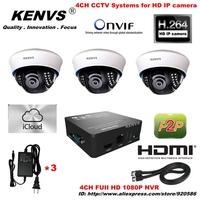Newtork   3*960P HD IP CAMERA  4CH FUII 1080P NVRCCTV System  CCTV IP CAMERA KIT  Dome camera surveillance Security NVR HDMI