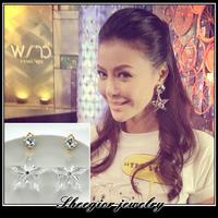 Fashion brand jewelry earrings for women ear accessories big crystal clear Star drop earrings acrylic star earring