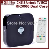Free Shipping CX-818 Mini PC Android TV Box Dual Core RK3066 1GB RAM 8GB ROM Built in Microphone AV RJ45 HDMI Smart TV Box