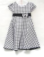 2014 New ! 3 Color Printed Dress For Girls Brand Clothing Clothes Short Sleeve Plaid Girl's Dress 7Y 8Y 9Y 10Y 11Y 12Y 13Y 14Y