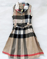 18 Color Printed Dress For Girls Brand Clothing Clothes 2014 New ! Short Sleeve Plaid Girl's Dress 6-12year