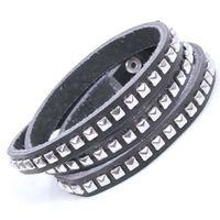 Fashion Womens/Mens Stylish Rivet Design Multi Wrap Faux Leather Bracelet Black
