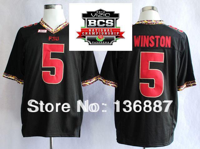 2014 BCS Championship Game Jersey,Florida State Seminoles (FSU) #5 Jameis Winston,Embroidery logos,NCAA College Football Jerseys(China (Mainland))
