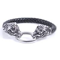 Men's Fashion Retro Personality Tiger Head Black Faux Leather Woven Bracelet