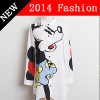 2014 new fashion spring MCQ turn-down MICKEY MOUSE fashion women style shirt cartoon pattern print shirts womens blouse 303S