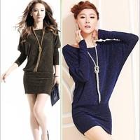2014 New spring autumn winter fashion Women sheath OL work dress long sleeve women career dresses for workwear plus size XL/XXL