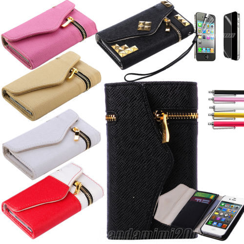 Wallet Pouch PU Leather Hard Case Credit Card Zipper Cover For iphone 4 4S 4G(China (Mainland))