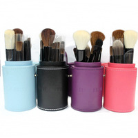 Wholesale min order 1 piece synthetic hair with wooden handle four colors 12 pcs make-up brushes set new 2014