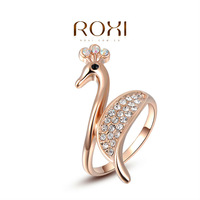 ROXI Christmas Gift Classic Genuine Austrian Crystals Sample Sales Rose Gold Plated Peacock  Ring Jewelry Party OFF