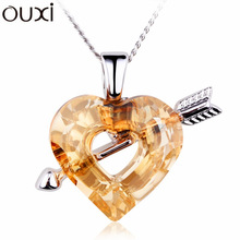 Made With Verified Swarovski Elements NLA113 New 2014 The Arrow of Cupid Pendant Thick 18K/White Gold Plated Free Shipping