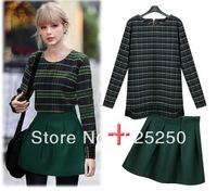 2014 spring winter women vintage skirt suit two pieces set european style green plaid long sleeve sweater top wool  mini skirt