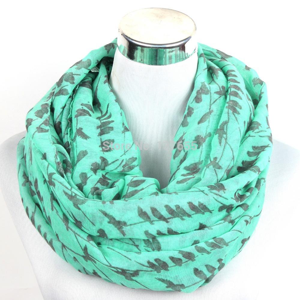 free shipping animal little bird swallow print chevron infinity women's scarf quality guarantee(China (Mainland))