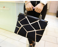 2013 autumn fashion nubuck leather brief patchwork plaid shoulder bag handbag large bag formal women's handbag