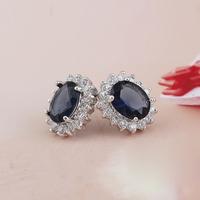 New brand blue cubic zircon crystal for women Heart of Ocean bridal Wedding stud earring CZ Jewelry girls Valentine Day Gift