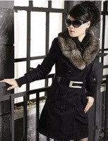 Fashion Women's Coats Winter Warm Long Coats Faux Fur Jackets women 3 Colors with new feather belt