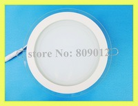recessed LED panel light lamp    6W / 12W / 15W    SMD 5730  AC90-265V round shape with glass high bright free shipping
