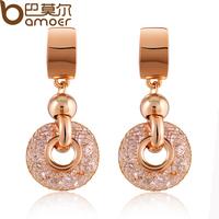Bamoer brand Luxury gold mesh within crystal 18k Gold plated Drop Earrings ladies' Fashion Jewelry zircon dangle earring SDRE019