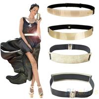 Fashion Women's Waist Band Elastic Mirror Metal Waist Belt Leather Metallic Bling Gold Plate Wide Obi Band 3 Models 05A3