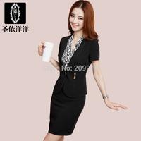 2014 women's work wear summer OL short-sleeve  strap black tailored skirt work wear dress set