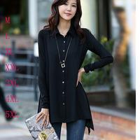 New 2014 Plus Size Black Women Blouse Spring Summer Loose Long Sleeves Solid Chiffon Shirt Female  M-5XL Blusas Femininas Tops