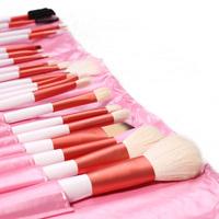 Hot!!100% High Quality 20 Pcs Professional Pink Makeup Brushes Set Tools Set Black Leather Make Up Tools Wood Tools Case